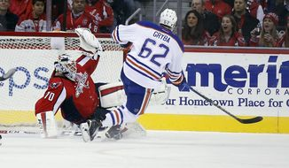 Washington Capitals goalie Braden Holtby (70) catches a shot by Edmonton Oilers defenseman Eric Gryba (62) in the third period of an NHL hockey game, Monday, Nov. 23, 2015, in Washington. The Capitals won 1-0. (AP Photo/Alex Brandon)