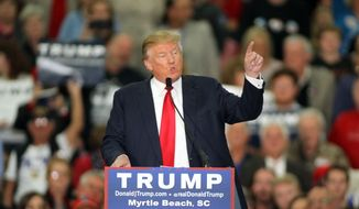 Republican presidential candidate Donald Trump speaks during a campaign event at the Myrtle Beach Convention Center on Tuesday, Nov. 24, 2015, in Myrtle Beach, S.C. (AP Photo/Willis Glassgow) ** FILE **