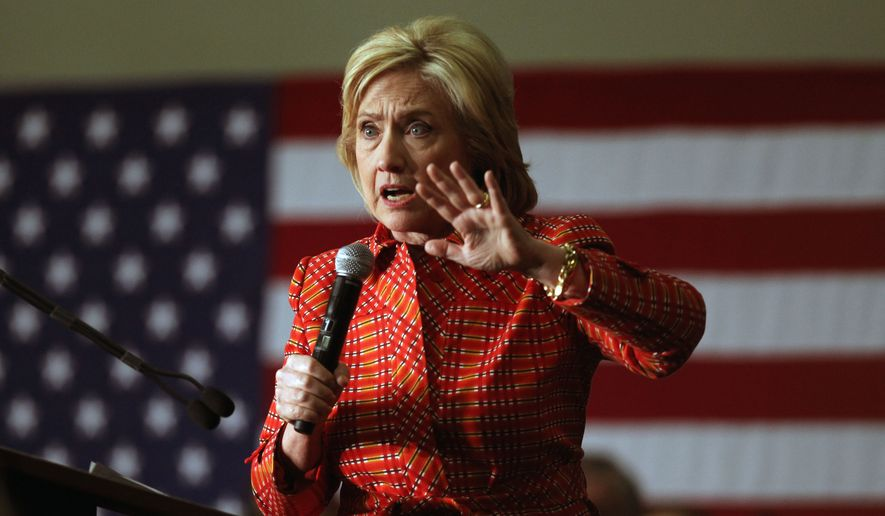 Hillary Rodham Clinton uttered the descriptor for people who enter the U.S. illegally during a town hall meeting in New Hampshire. (Associated Press)