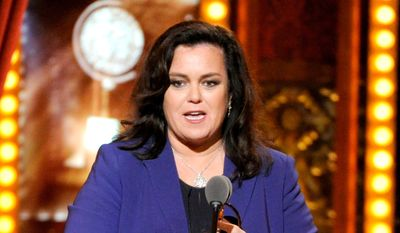 "Rosie O'Donnell accepts the Isabelle Stevenson Award on stage at the 68th annual Tony Awards in New York, in this June 8, 2014, file photo. O'Donnell isn't mincing words when it comes to Donald Trump's presidential campaign.  On Monday, Nov. 23, 2015, O'Donnell said:""It's a nightmare."" She didn't elaborate, adding only, ""That's my quote."" (Photo by Evan Agostini/Invision/AP, File)"