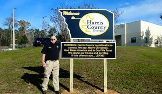 """Harris County, Ga., Sheriff Mike Jolley is gaining attention after posting a sign outside of his department Tuesday morning declaring his county """"politically incorrect."""" (Facebook/@D&S Sign Company)"""
