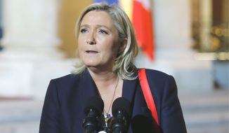 Far-right party leader Marine Le Pen is gaining traction in France post-attacks. (Associated Press)