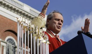 Boston Red Sox President Larry Lucchino speaks at the Statehouse in Boston Wednesday, Oct. 31, 2007 during a ceremony celebrating the Boston Red Sox' World Series victory against the Colorado Rockies. (AP Photo/Elise Amendola)
