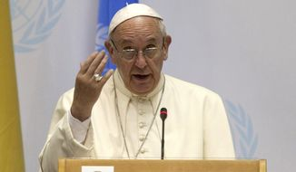 """Pope Francis speaks at the United Nations regional office in Nairobi, Kenya, Thursday, Nov. 26, 2015. Pope Francis warned Thursday that it would be """"catastrophic"""" for world leaders to let special interest groups get in the way of a global agreement to curb fossil fuel emissions as he brought his environmental message to the heart of Africa on the eve of make-or-break climate change talks in Paris. (AP Photo/Sayyid Azim)"""