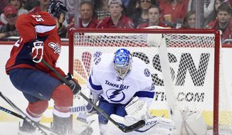 Tampa Bay Lightning goalie Andrei Vasilevskiy (88), of Russia, stops the puck against Washington Capitals left wing Jason Chimera (25) during the first period of an NHL hockey game, Friday, Nov. 27, 2015, in Washington. (AP Photo/Nick Wass)