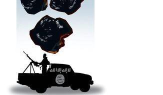 Illustration on fighting terrorism with energy independence by Alexander Hunter/The Washington Times