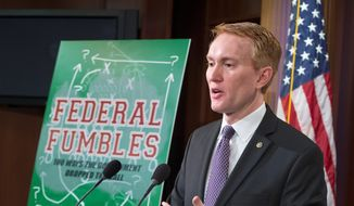 "Sen. James Lankford, Oklahoma Republican, on Monday released ""Federal Fumbles,"" a report that highlights examples of wasteful or duplicative spending and burdensome regulations, and also offers his policy solution to each of the problems. (Associated Press)"