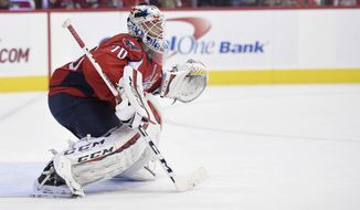 Washington Capitals goalie Braden Holtby (70) looks on during the second period of an NHL hockey game against the Tampa Bay Lightning, Friday, Nov. 27, 2015, in Washington. (AP Photo/Nick Wass)