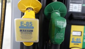 In this Aug. 9, 2014 photo, a fuel nozzle for E-85, left, and traditional gasoline is seen at a gas station in Batesville, Miss. The Obama administration is boosting the amount of corn-based ethanol and other renewable fuels in the U.S. gasoline supply. That's despite sustained opposition by an unusual alliance of oil companies, environmentalists and some Republican presidential candidates. (AP Photo/Rogelio V. Solis, File)