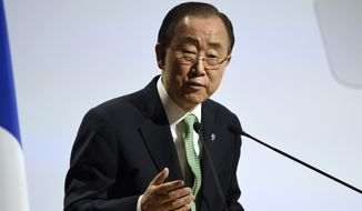 United Nations Secretary General Ban Ki-moon delivers a speech at the COP21, United Nations Climate Change Conference, in Le Bourget, outside Paris, Monday, Nov. 30, 2015. (Eric Feferberg/Pool Photo via AP)