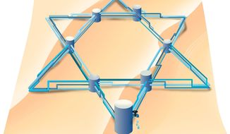 Illustration on Israeli water production by Linas Garsys/The Washington Times