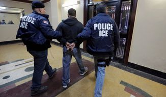 Dubbed the I-247X, the new detainer request form gives Immigration and Customs Enforcement agents the power to ask local police to hold illegal immigrants for pickup even if they don't have serious criminal records or ties to terrorism. (Associated Press)