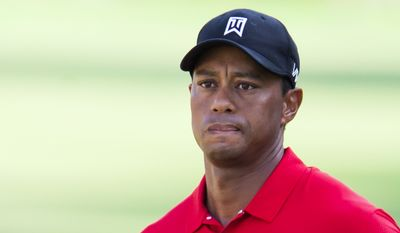 Tiger Woods watches a chip shot to the 15th green during the final round of the Wyndham Championship golf tournament at Sedgefield Country Club in Greensboro, N.C., Sunday, Aug. 23, 2015. (AP Photo/Rob Brown)