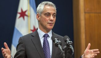Chicago Mayor Rahm Emanuel speaks at a news conference in Chicago, Tuesday, Dec. 1, 2015, where he announced the firing Chicago Police Superintendent Garry McCarthy and discussed the creation of a newly created task force on police accountability. The firing of McCarthy came a week after the release of a dash-cam video that showed a white police officer fatally shooting a black teenager 16 times. (Ashlee Rezin/Sun-Times Media via AP )  CHICAGO TRIBUNE OUT, MANDATORY CREDIT, MAGS OUT, NO SALES