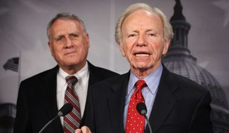 "Former Sens. Jon Kyl (left) and Joe Lieberman are releasing a report, ""Why American Leadership Still Matters,"" through the American Enterprise Institute. They point to developments around the world over the past two years to show ""just how much is at stake when America pulls back."" (Associated Press)"