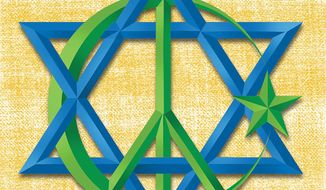 Illustration on Jewish Muslim harmony in Israel by Linas Garsys/The Washington Times