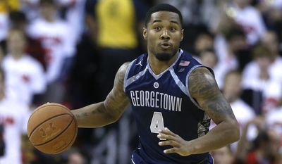 File Photo: Georgetown guard D'Vauntes Smith-Rivera drives the ball in the first half of an NCAA college basketball game against Maryland, Tuesday, Nov. 17, 2015, in College Park, Md. (AP Photo/Patrick Semansky)