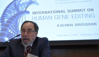 Nobel laureate David Baltimore of CalTech speaks to reporters at the National Academy of Sciences international summit on the safety and ethics of human gene editing, Tuesday, Dec. 1, 2015, in Washington. Alternating the promise of cures for intractable diseases with anxiety about designer babies and eugenics, hundreds of scientists and ethicists from around the world began debating the boundaries of a revolutionary technology to edit the human genetic code.  (AP Photo/Susan Walsh) ** FILE **