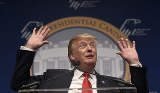 Republican presidential candidate Donald Trump speaks at the Republican Jewish Coalition Presidential Forum in Washington, Thursday, Dec. 3, 2015. (AP Photo/Susan Walsh)