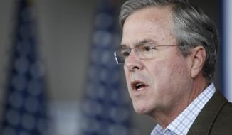 Republican presidential candidate and former Florida Gov. Jeb Bush speaks in the atrium at the Sullivan Brothers Iowa Veterans Museum during a campaign stop Tuesday, Dec. 1, 2015, in Waterloo, Iowa. (Matthew Putney/The Courier via AP) MANDATORY CREDIT