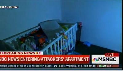 A crib inside the apartment of Syed Farook and Tashfeen Malik, the San Bernardino shooters. (Image: Screen grab from MSNBC)