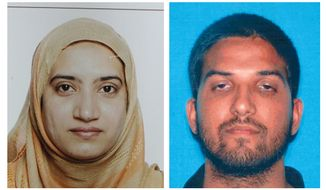 This undated combination of photos provided by the FBI, left, and the California Department of Motor Vehicles shows Tashfeen Malik, left, and Syed Farook. The husband and wife died in a fierce gunbattle with authorities several hours after their commando-style assault on a gathering of Farook's colleagues from San Bernardino, Calif., County's health department Wednesday, Dec. 2, 2015. (FBI, left, and California Department of Motor Vehicles via AP)