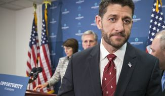 In this Dec. 1, 2015 photo, Speaker of the House Paul Ryan, R-Wis., departs a news conference following a GOP strategy session at the Capitol in Washington, Tuesday, Dec. 1, 2015. From left are Rep. Cathy McMorris Rodgers, R-Wash., chair of the Republican Conference, Majority Leader Kevin McCarthy, R-Calif., Speaker Ryan, and Majority Whip Steve Scalise, R-La.  After months where tea party lawmakers provoked crisis and unrest in Congress, even driving out a speaker, GOP leaders have turned to the business of governing, pushing forward a series of bills destined to get a presidential signature.   (AP Photo/J. Scott Applewhite)