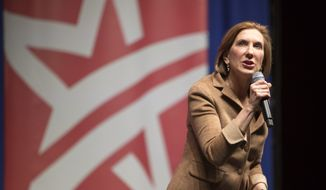 Republican presidential candidate Carly Fiorina speaks during the Rising Tide Summit in Cedar Rapids, Iowa, on Dec. 5, 2015. (Associated Press) **FILE**