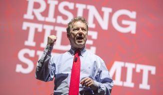 Republican presidential candidate Sen. Rand Paul, R-Ky., speaks Saturday, Dec. 5, 2015, during the Rising Tide Summit at the US Cellular Center in Cedar Rapids, Iowa. (AP Photo/Scott Morgan)