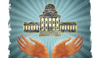 Primitive Worship of Government Power Illustration by Greg Groesch/The Washington Times
