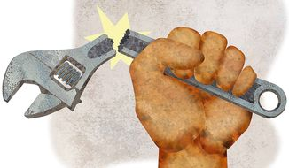 Broken Union Wrench Illustration by Greg Groesch/The Washington Times