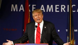 In this Dec. 7, 2015, file photo, Republican presidential candidate, businessman Donald Trump speaks  aboard the aircraft carrier USS Yorktown in Mt. Pleasant, S.C. (AP Photo/Mic Smith, File)