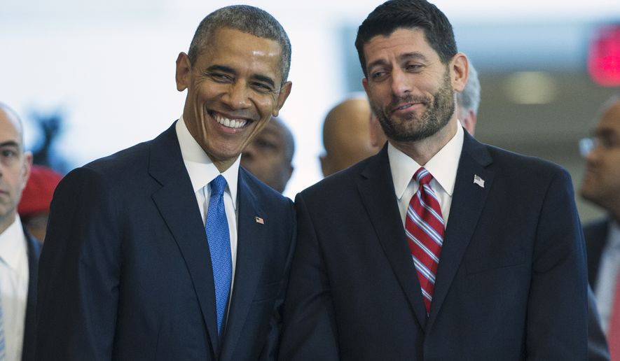President Barack Obama stands with House Speaker Paul Ryan of Wis. in Emancipation Hall on Capitol Hill in Washington, Wednesday, Dec. 9, 2015, during an event to celebrate the 150th anniversary of the 13th amendment that abolished slavery. (Associated Press) **FILE**