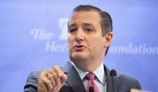 Republican presidential candidate Sen. Ted Cruz, R-Texas speaks at the Heritage Foundation in Washington, Thursday, Dec. 10, 2015. (AP Photo/Pablo Martinez Monsivais)