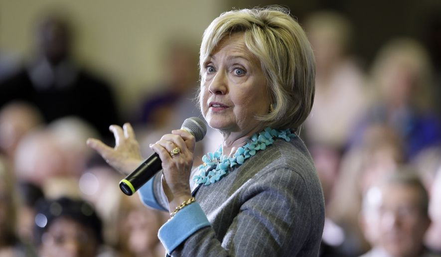 """Hillary Clinton's campaign didn't respond to requests for comment about George Kaiser and the fundraiser, but her website lists it as a two-hour affair. Guests are requested to give the $2,700 maximum donation in exchange for a """"photo with Hillary."""" (Associated Press)"""