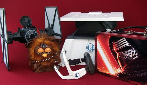 """Zadzooks' gift ideas include First Order Special Forces T.I.E. Fighter, Furbacca, The Force Trainer II: Hologram Experience and """"The Force Awakens"""" Tin Tote. (Photograph by Joseph Szadkowski / The Washington Times)"""