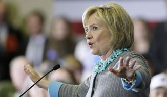Democratic presidential candidate Hillary Clinton speaks during a town hall meeting in Waterloo, Iowa, in this Dec. 9, 2015, file photo. (AP Photo/Charlie Neibergall)