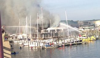Annapolis Yacht Club on fire. (Image: Annapolis Police/Twitter)