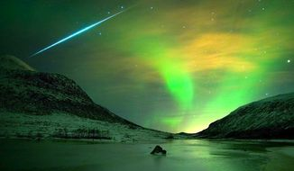 The Geminid meteor shower will peak on Sunday night; here's a previous display as a single meteoroite streaks across the aurora borealis in Norway. (Image courtesy of NASA)