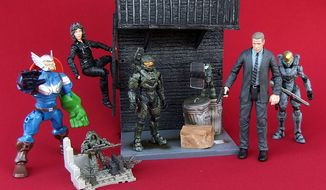 "Zadzooks' gift ideas for action figure fans include an Ultimate Avengers Masher, Ghillie Suit Sniper and Juggernaut from ""Call of Duty,"" Selina Kyle and Jim Gordon from ""Gotham,"" and Master Chief and Spartan Kelly-087 from ""Halo 5.""  (Photograph by Joseph Szadkowski / The Washington Times)"