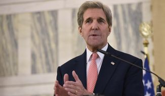 """""""I understand the criticisms of the agreement because it doesn't have a mandatory scheme and it doesn't have a compliance enforcement mechanism. That's true,"""" Secretary of State John F. Kerry said. (Associated Press)"""