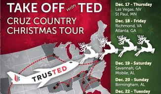 """Sen. Ted Cruz embarks on a 12-city """"Take Off With Ted"""" tour immediately after the Republican presidential debate Tuesday night. (Cruz for President)"""