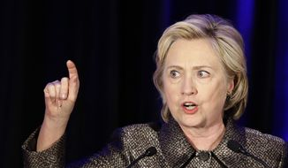 Democratic presidential candidate Hillary Clinton speaks during the 2015 National Immigration Integration Conference in New York, in this Dec. 14, 2014, photo. (AP Photo/Seth Wenig)