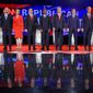 Republican presidential candidates (from left) John Kasich, Carly Fiorina, Marco Rubio, Ben Carson, Donald Trump, Ted Cruz, Jeb Bush, Chris Christie and Rand Paul take the stage during the CNN Republican presidential debate at the Venetian Hotel & Casino on Tuesday in Las Vegas. (Associated Press)