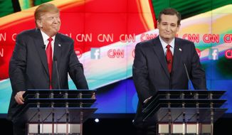 Donald Trump (left) and Ted Cruz react during the CNN Republican presidential debate at the Venetian Hotel & Casino on Tuesday in Las Vegas. (Associated Press)