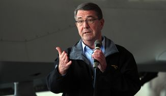 """Defense Secretary Ashton Carter said the Saudi announcement could result in """"greater involvement in the campaign to combat ISIL by Sunni-Arab countries."""" (Associated Press)"""