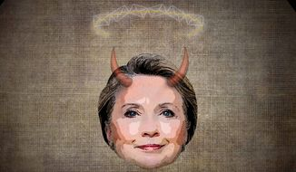 Hillary's Halo Turning to Horns Illustration by Greg Groesch/The Washington Times