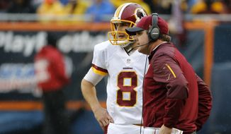 Washington Redskins head coach Jay Gruden talks to quarterback Kirk Cousins (8) during the second half of an NFL football game against the Chicago Bears, Sunday, Dec. 13, 2015, in Chicago. (AP Photo/Charles Rex Arbogast)