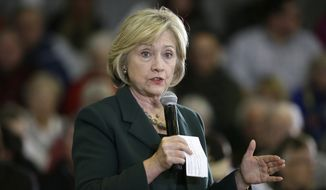 Democratic presidential candidate Hillary Clinton speaks during a town hall meeting Wednesday, Dec. 16, 2015, in Mason City, Iowa. (AP Photo/Charlie Neibergall) ** FILE **