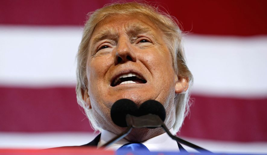 """Nobody can be stronger than me on the border. You ever notice how these guys are all pivoting? They are all weak,"" Donald Trump said Wednesday during a rally in Mesa, Arizona. (Associated Press)"